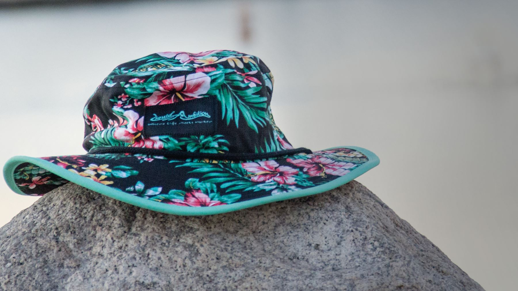 Boonie bucket hat sitting on large rock