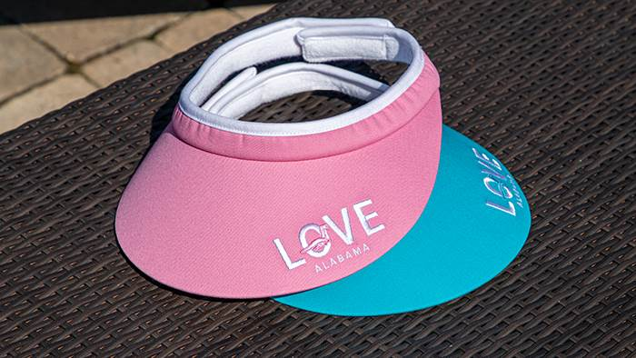 Ladies Velcro Visors on an outdoor table
