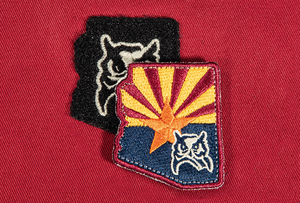 Flat embroidery on velcro patch with removable flat embroidery on fabric patch with merrowed edge