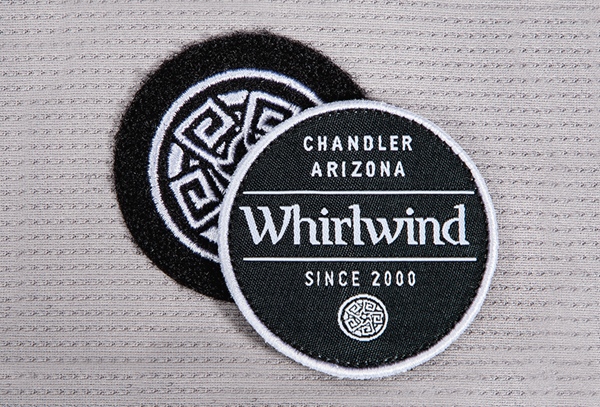 flat embroidery on velcro patch with removable woven label with merrowed edge