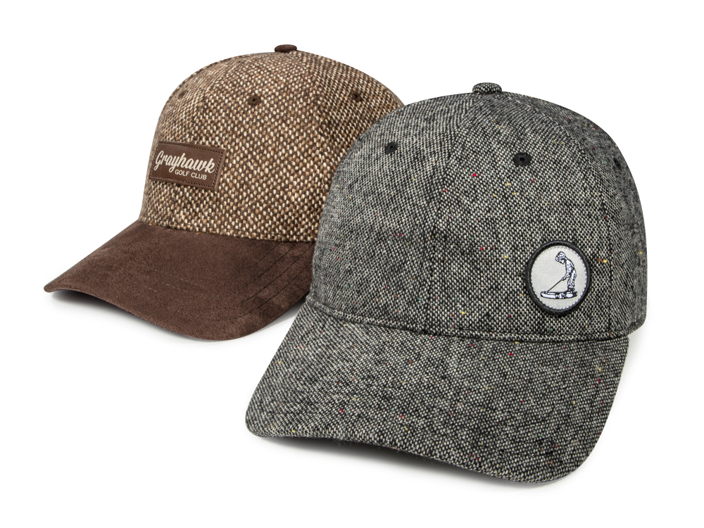 Pair of golf hats with tweed specialty fabric