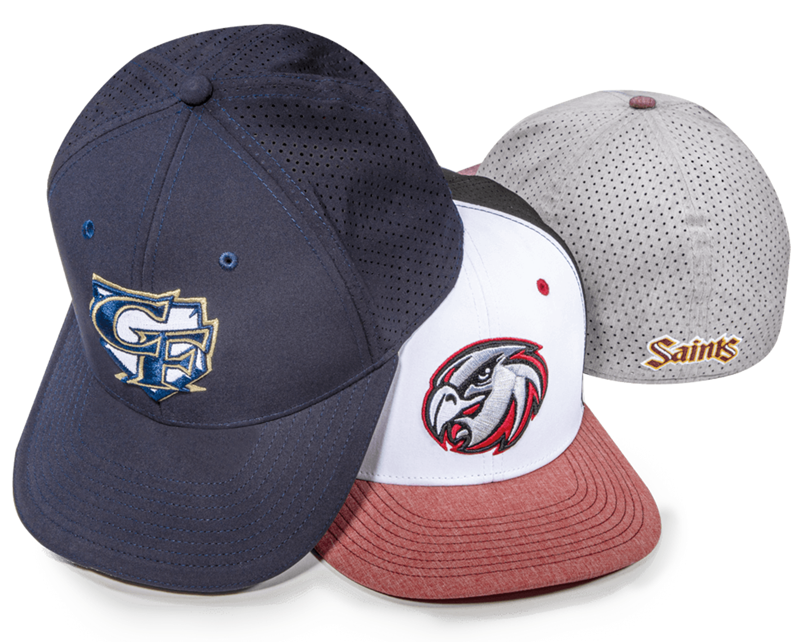 A group of Perforated TriTech baseball hats