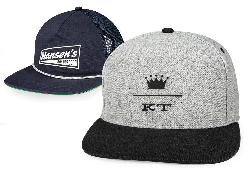 A pair of hats with bondgo custom appliques