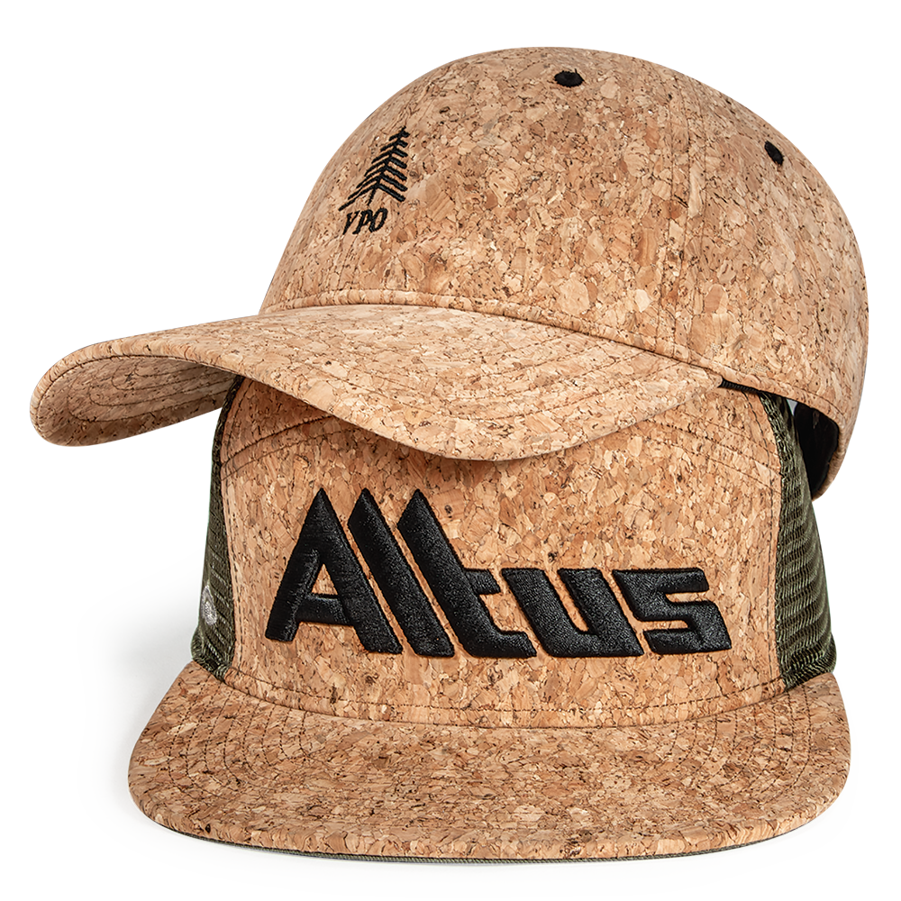 A Cork all-over hat and Tradesman hat with cork front panels and visor