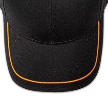 Pukka hat, visor stitching, 4 rows, 1 thick satin stitch, 1 color