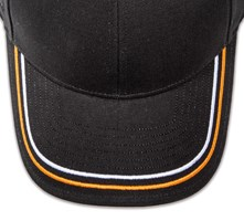 Pukka hat, visor stitching, 8 rows, 2 thick satin stitch, 2 color