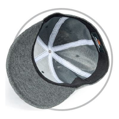 Circle showing Stretch-Fit hat underside A-Flex sweatband