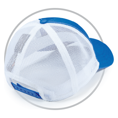 Circle with Pukka hat showing back view of Tech Mesh
