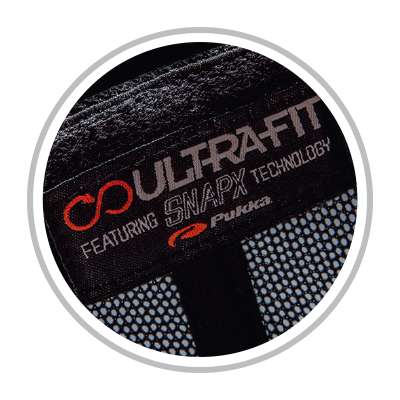 Circle showing hat inside label Ultra-Fit